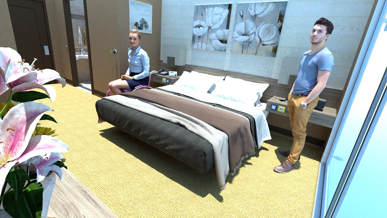 Hotel room image with female wheelchair user and standing male guest