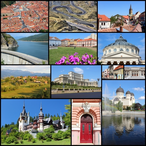 Compilation of Romanian landscapes and buildings