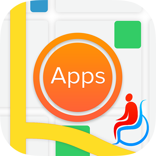 AppsMapper logo with wheelchair symbol and styalised map features