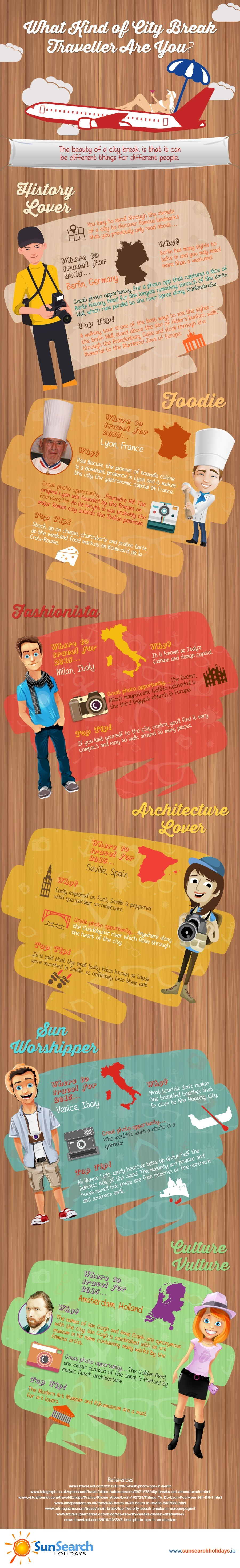 What kind of a City Break Traveller Are You? Infographic by SunSearchHolidays.