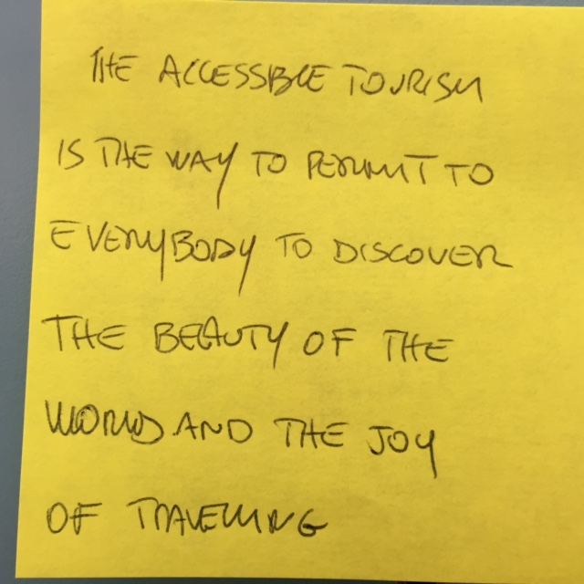 "Accessible Tourism ""sticky"" note"