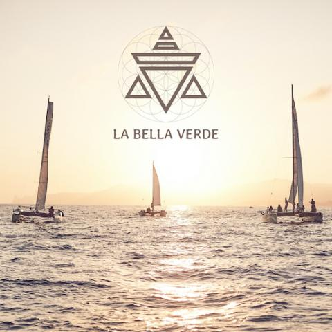 3 catermarans sailing at sunset and text La Bella Verde