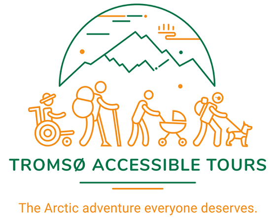 Logo of the company. Drawing of a group of people with accessibility requirements walking in front of a mountain.