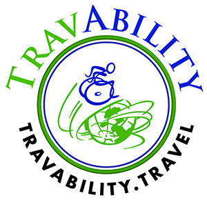 Travability logo - wheelie man around the globe