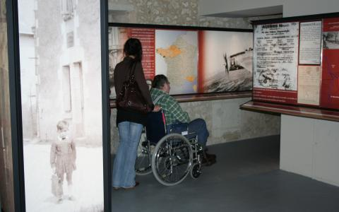 Image of Museum displays and wheelchair user