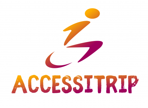 Logo of Accessitrip wheelchair user motif