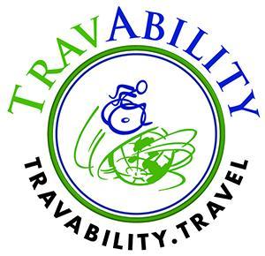 Travability logo - wheelie man around the globe